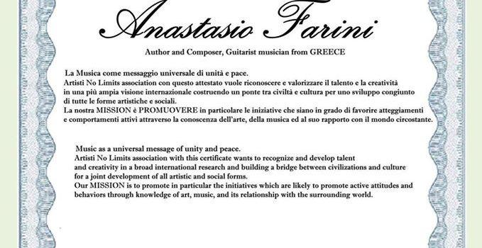 """ANASTASIO FARINI receive the """"Artisti No Limit's Attestato/Certificate"""""""